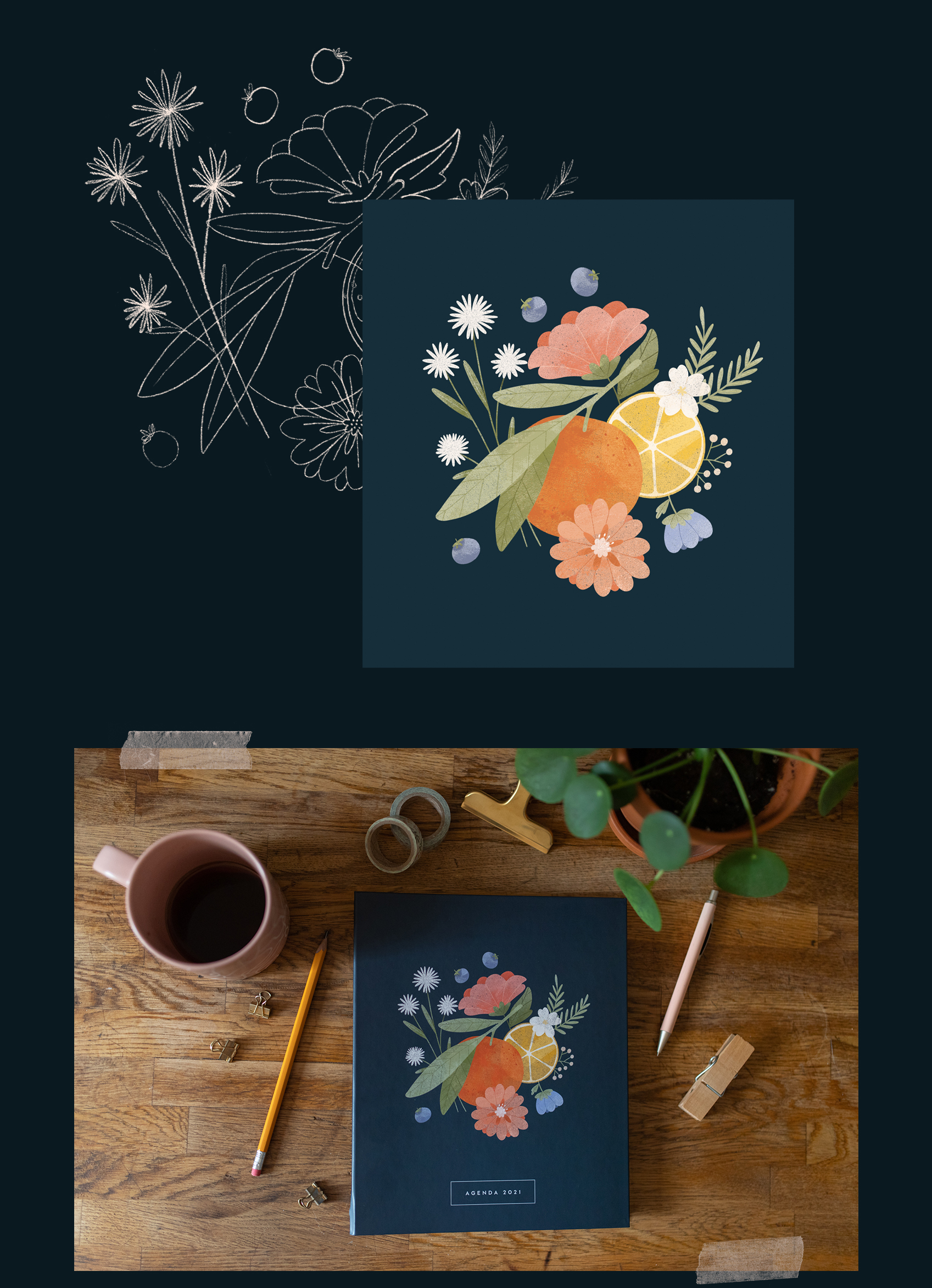 Trois fois par jour agenda 2021 Florence Sabatier Atelier Mouette illustrations